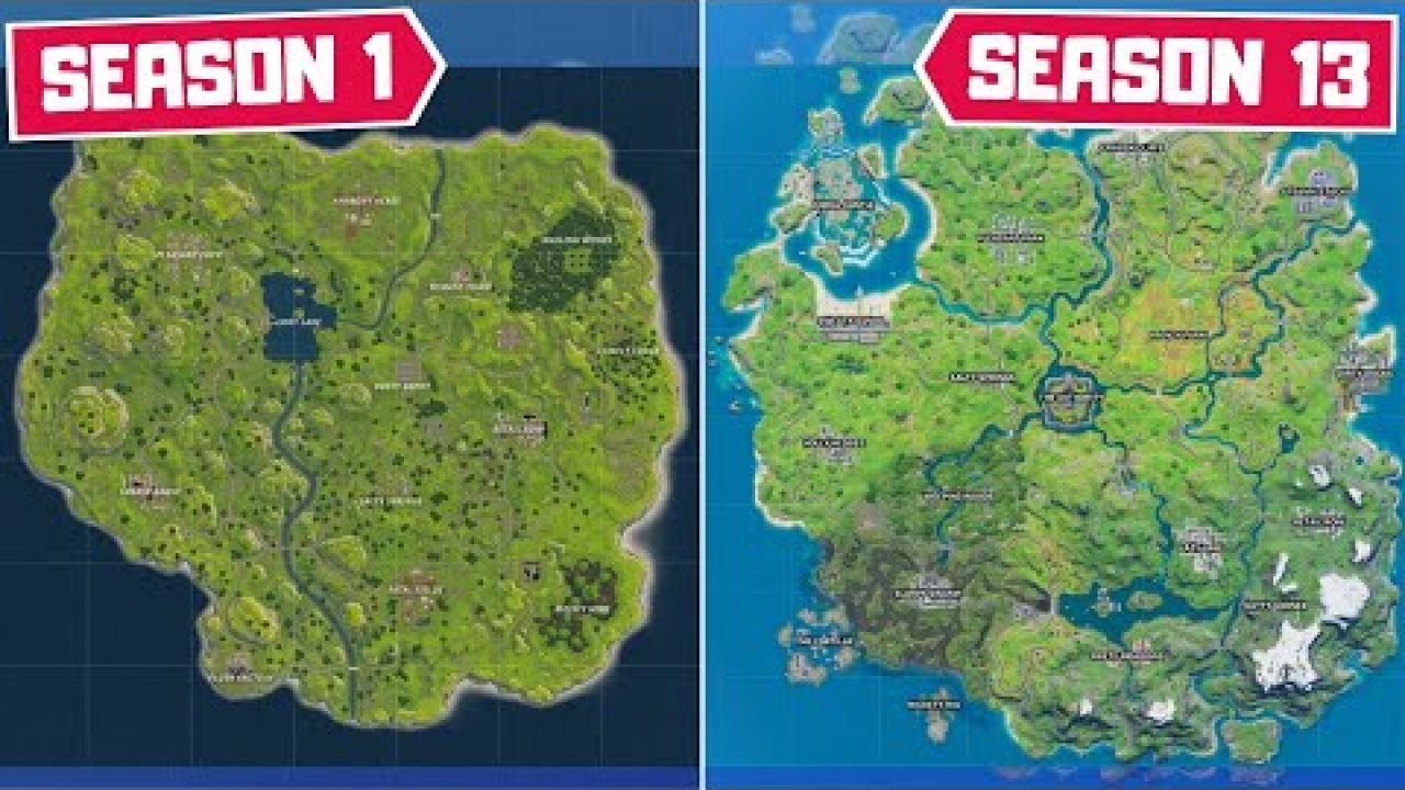 Evolution Of The Entire Fortnite Map Season 1 Season 13 Here, each player has access to a private, persistent island on which they. evolution of the entire fortnite map