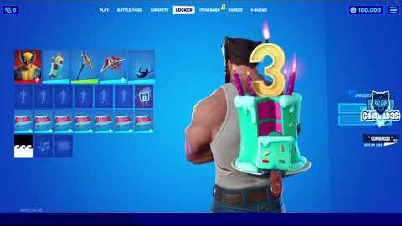 Fortnite 3rd Birthday Free Rewards Cake Backbling And Cakey Wrap In Fortnite Chapter 2 Season 4