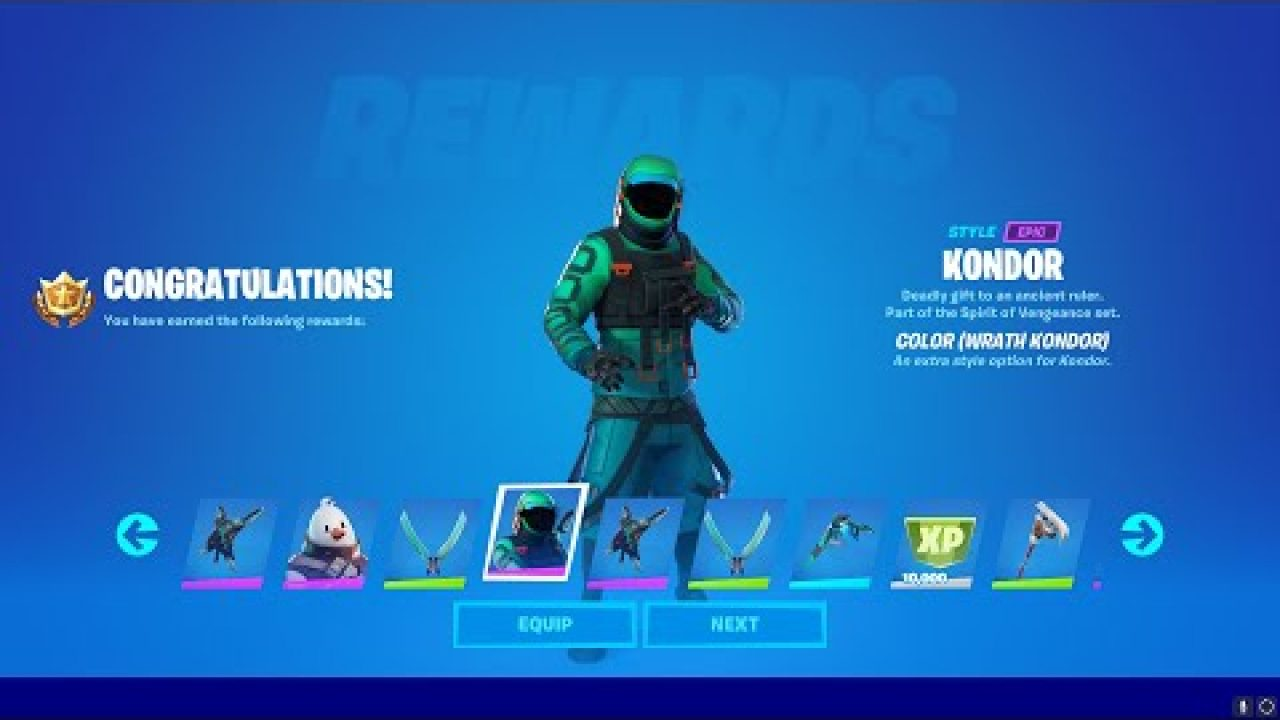 How To Unlock Kondor Wrath Edit Style In Fortnite Chapter 2 Season 5 Complete 40 Epic Quests If that season is still currently in the game, you can obtain this item by purchasing and/or leveling up your battle pass. how to unlock kondor wrath edit style