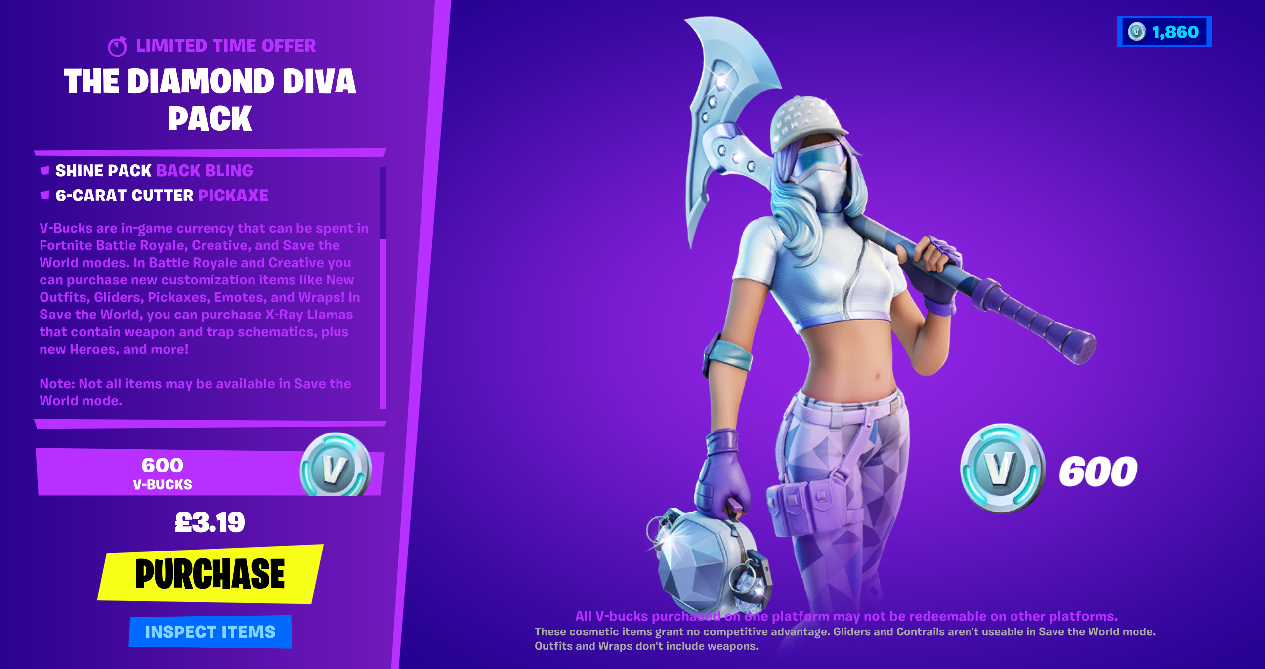 How To Inspect Your Weapon On Fortnite The Diamond Diva Pack Is Now Available Worldwide